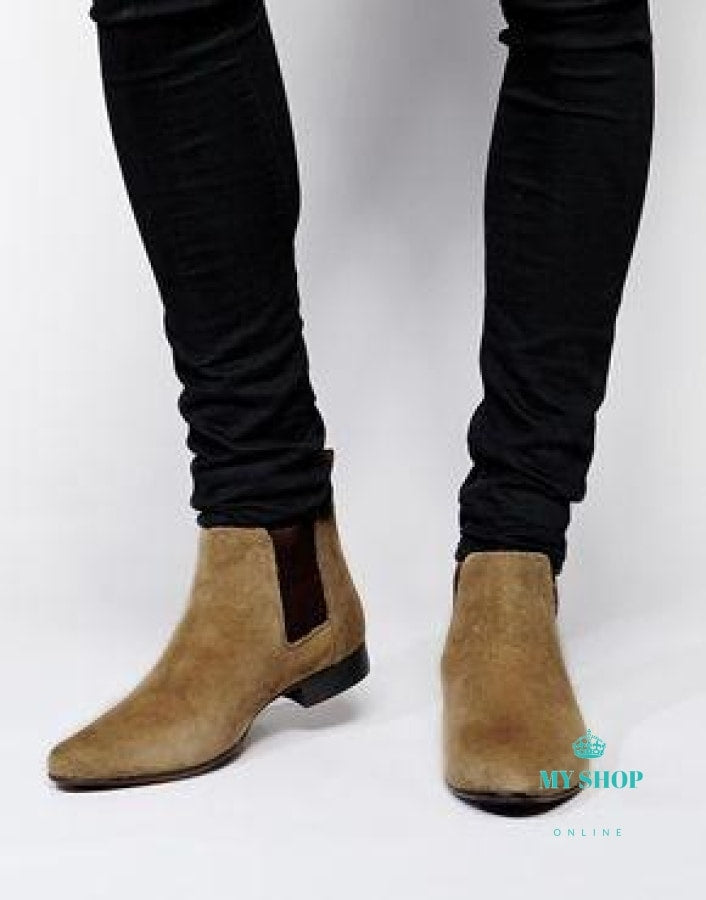 Mens Boots Pointed Toe Suede Leather Chelsea Slip On Rubber Sole Booties