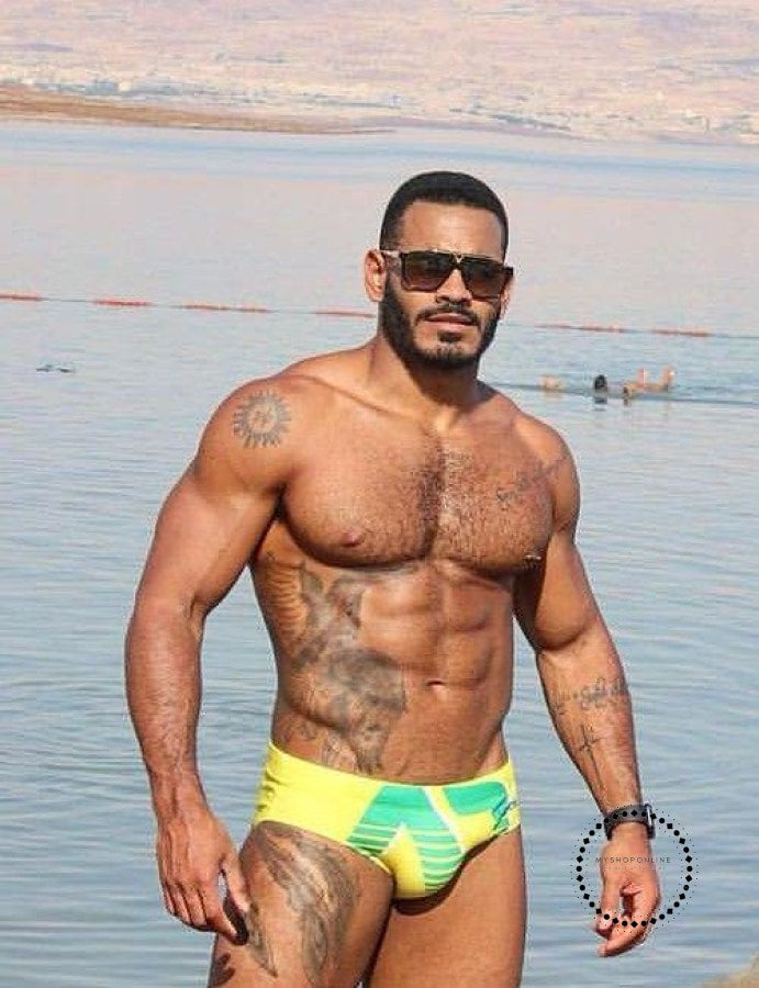 Mens Brand Swimming Swimwear Shorts Beachwear Yellow / M Accesorios