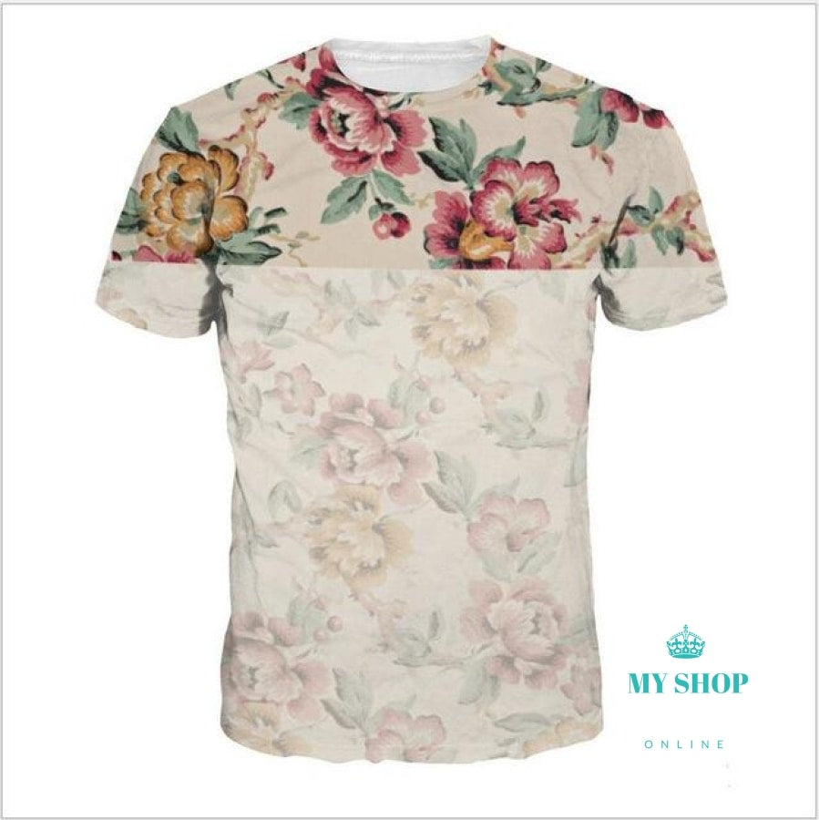 Mens Casual T Shirts Flower Print Famous Clothing Mans Short Sleeve Slim T-Shirts