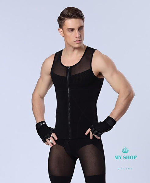 Mens Front Zipper Slimming T-Shirts Waist Corsets Underwear Body Shapers Lose Weight Hombres