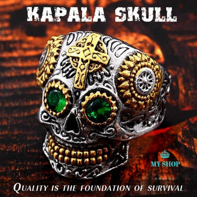 Mens Gothic Gold Carving Kapala Skull Ring Biker Hiphop Rock Jewelry Accesorios