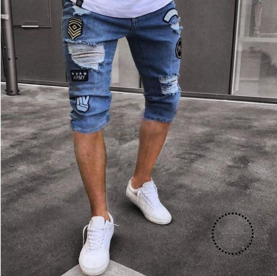 Mens Jeans Shorts Motorcycle Biker Rock Revival Short Pants Skinny Slim Ripped Hole Denim Designer