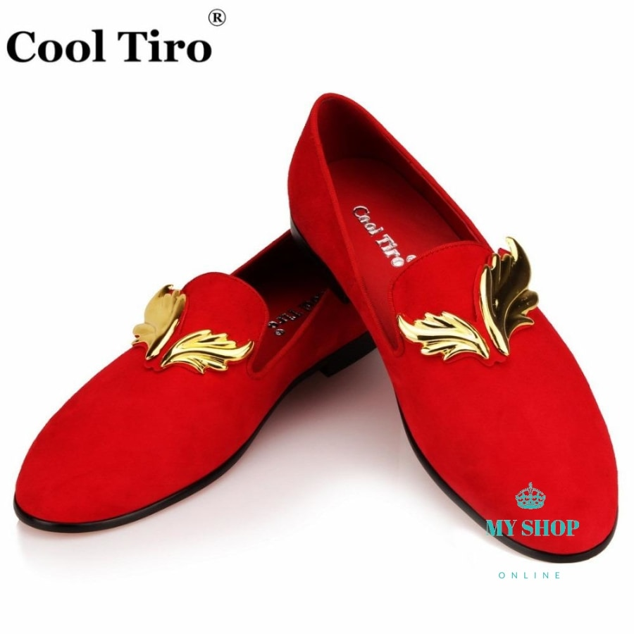 Mens Loafers Gold Flame Moccasins Dress Shoes Wedding Party Flats Smokingslippers Casual Fashion