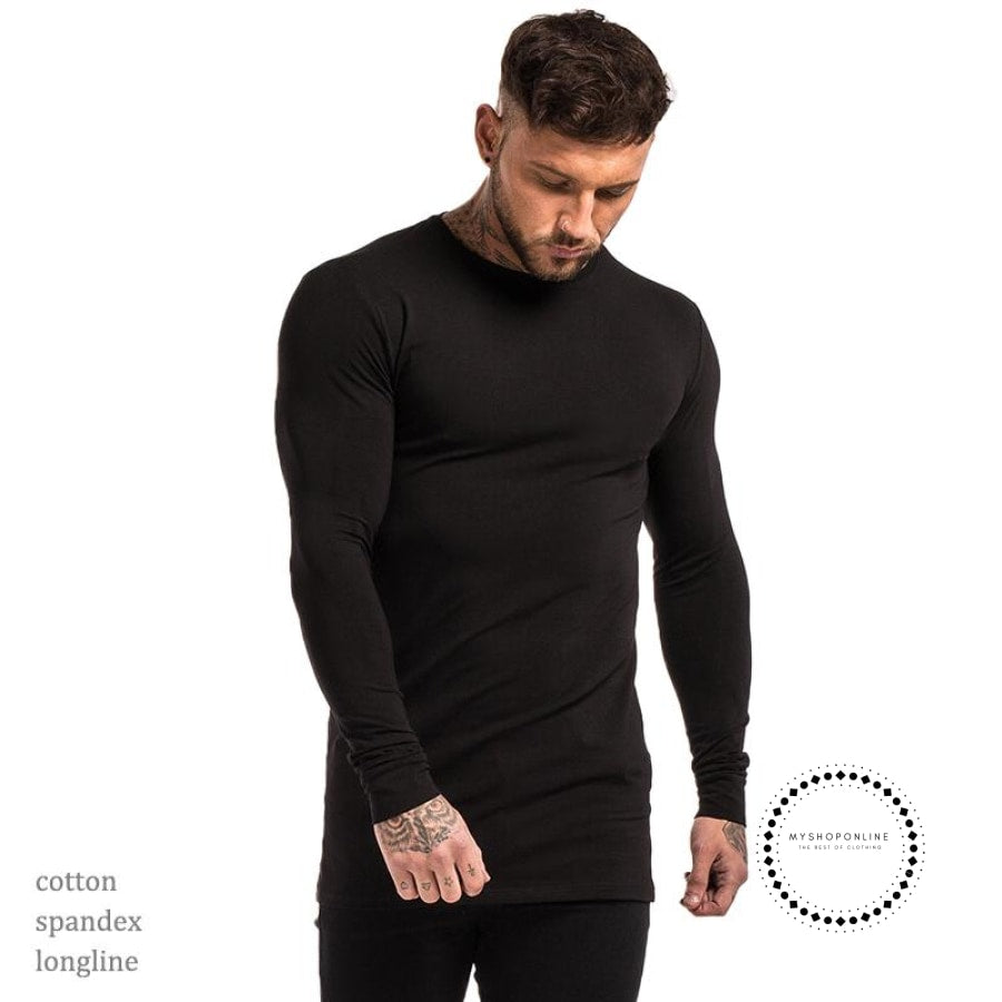 Mens Long Sleeve Shirts Longline Stretch Tees Lightweight Cotton Spandex Soft Full T Shirts