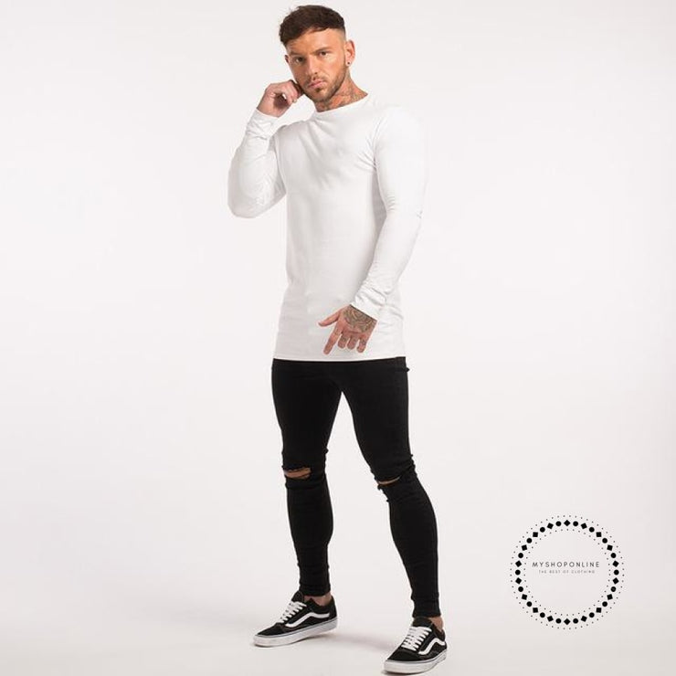 Mens Long Sleeve Shirts Longline Stretch Tees Lightweight Cotton Spandex Soft Full T Shirts White No