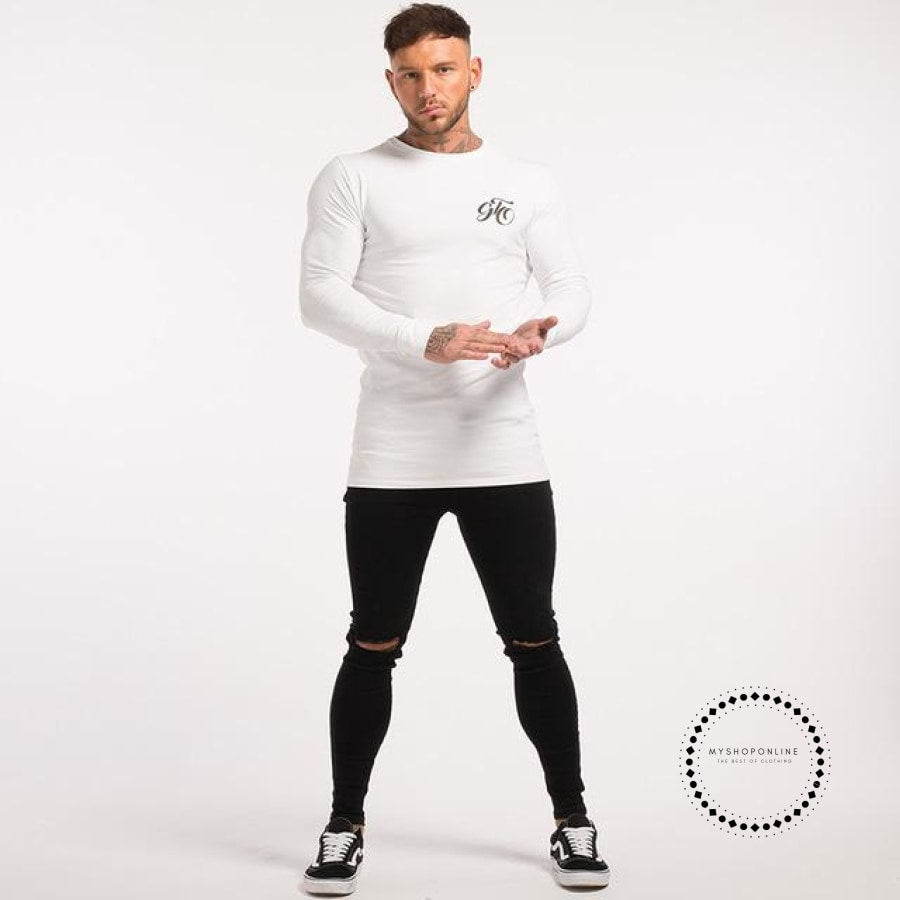 Mens Long Sleeve Shirts Longline Stretch Tees Lightweight Cotton Spandex Soft Full T Shirts White