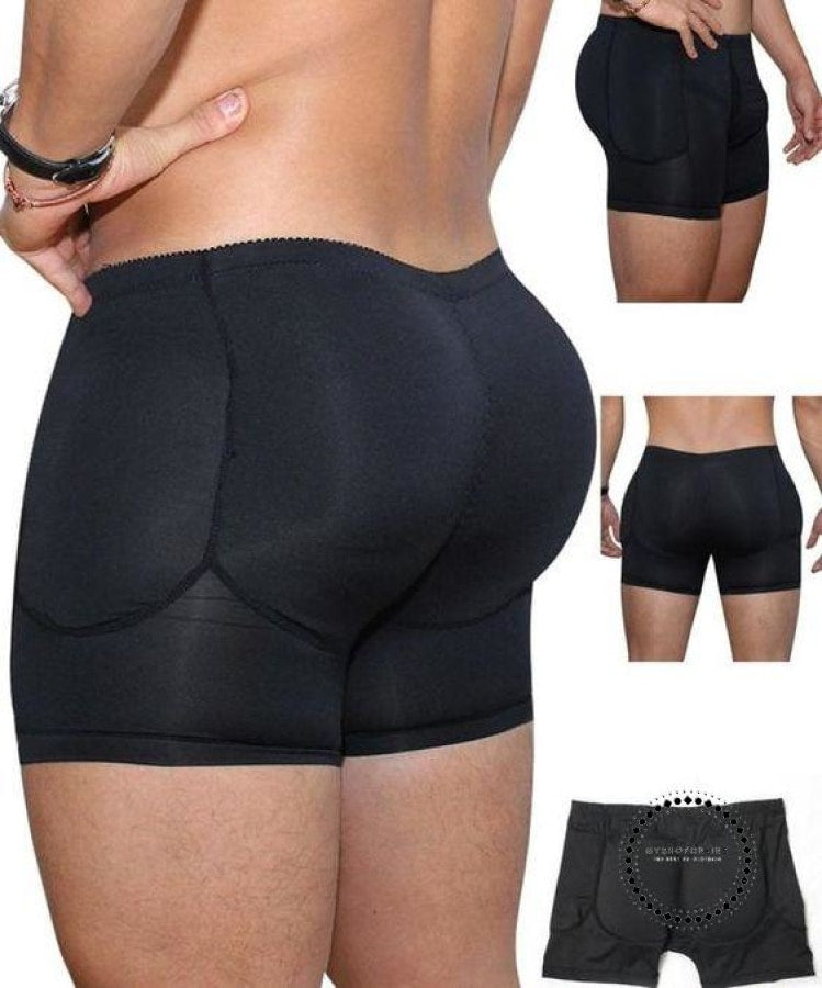 Mens Padded Underwear + Sillicon Pads Butt Lifter Up Black Boxer / S Hombres