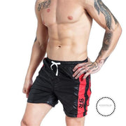 Mens Quick-Drying Beach Short Pants Fashion Patchwork Board Shorts Black / S