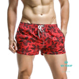 Mens Red Beach Shorts Quick Dry Surfing Wear Swim Trunks