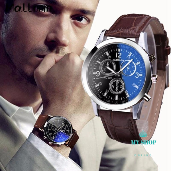 Mens Roman Numerals Blue Ray Glass Watches Accesorios