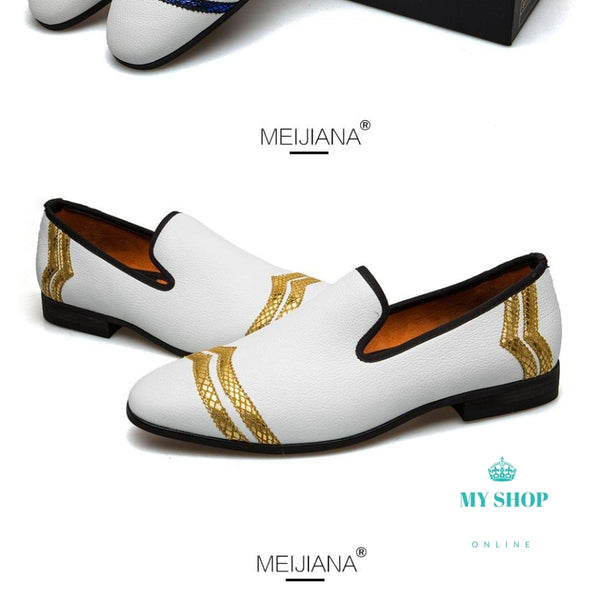 Mens Shoes Casual Fashion Loafers Men Luxury Handmade White