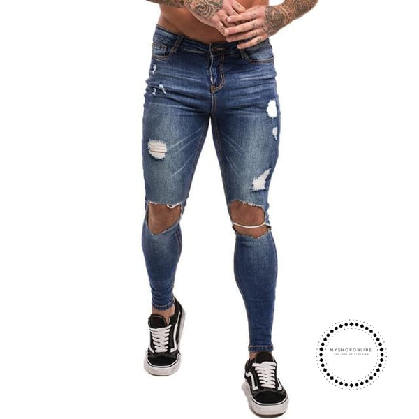 Mens Skinny Jeans Super Spray On Lightweight Cotton Ankle Tight Fit Ripped Repaired Black Dark Blue