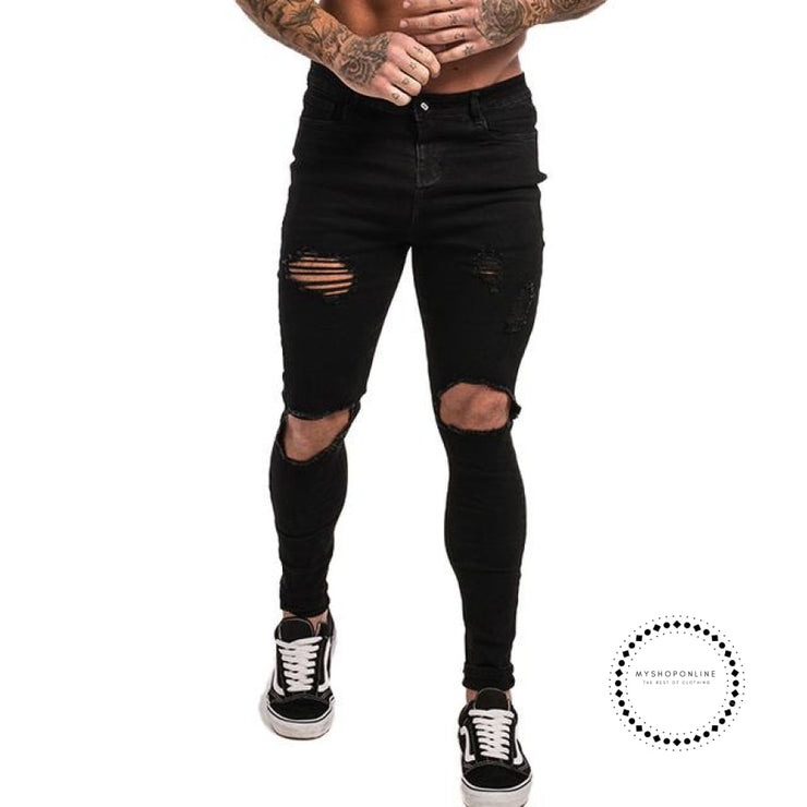 Mens Skinny Jeans Super Spray On Lightweight Cotton Ankle Tight Fit Ripped Repaired Black Black Hole
