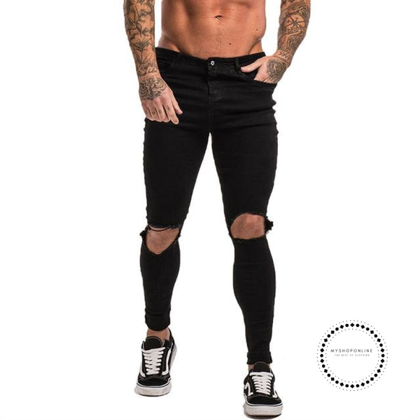 Mens Skinny Jeans Super Spray On Lightweight Cotton Ankle Tight Fit Ripped Repaired Black Black Knee