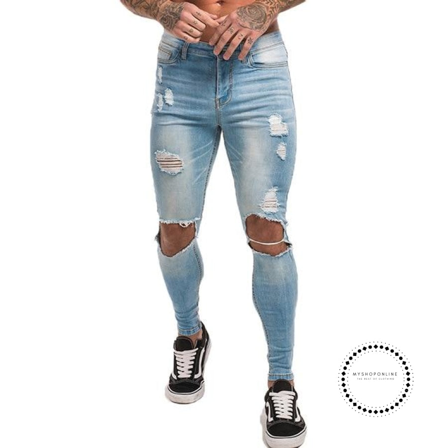 Mens Skinny Jeans Super Spray On Lightweight Cotton Ankle Tight Fit Ripped Repaired Black Light Blue