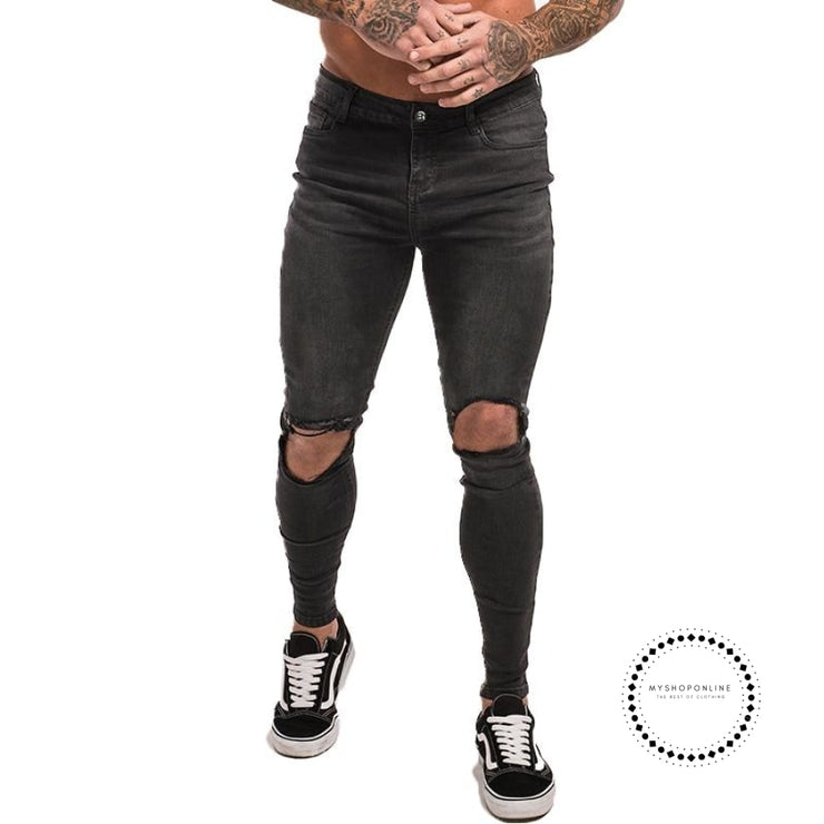 Mens Skinny Jeans Super Spray On Lightweight Cotton Ankle Tight Fit Ripped Repaired Black