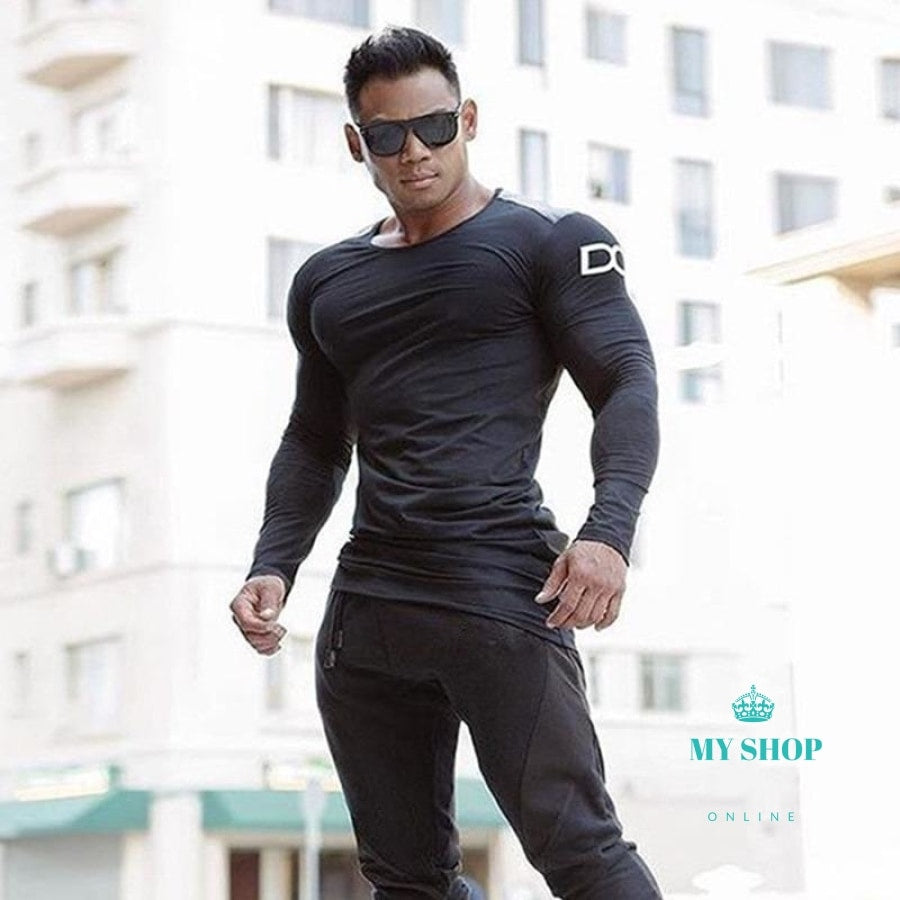 Mens Slim Shirts Bodybuilding Deporte