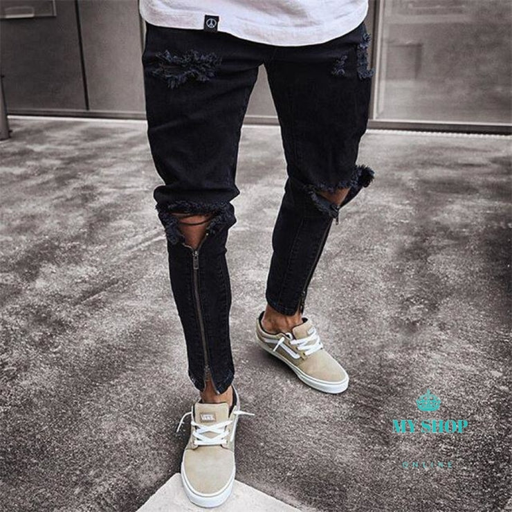 Mens Solid Black Hip Hop Ripped Zipper Jeans Men Cargo Streetwear Biker Jean Homme Joggers Clothing