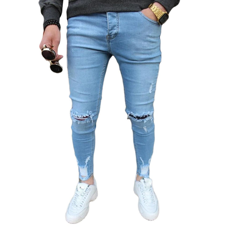 Mens Solid Color Jeans New Fashion Slim Pencil Pants Sexy Casual Hole Ripped Design Streetwear