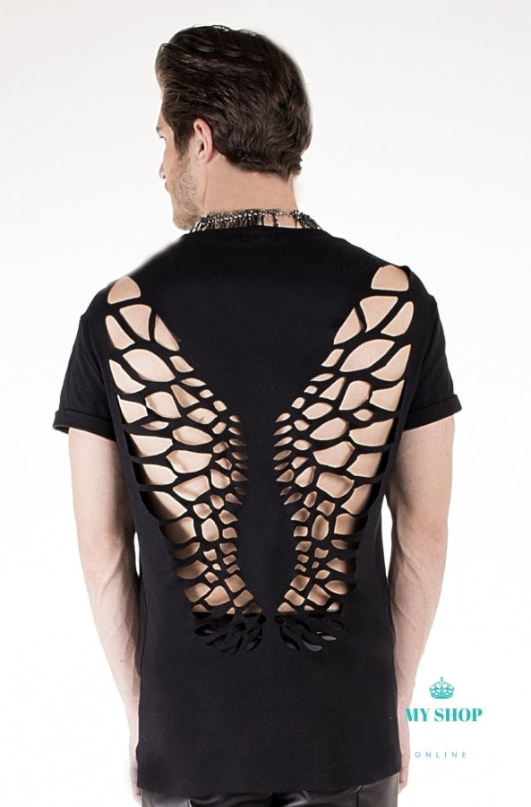 Mens Summer Casual T Shirt Fashion Wings Hollow Out Backless