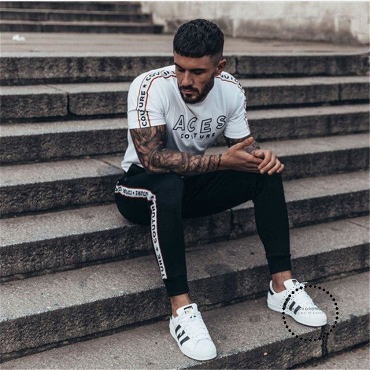 Mens T Shirt 2018 New Fashion Striped Clothing Trend Slim Fit Short Sleeve Casual Top Tee