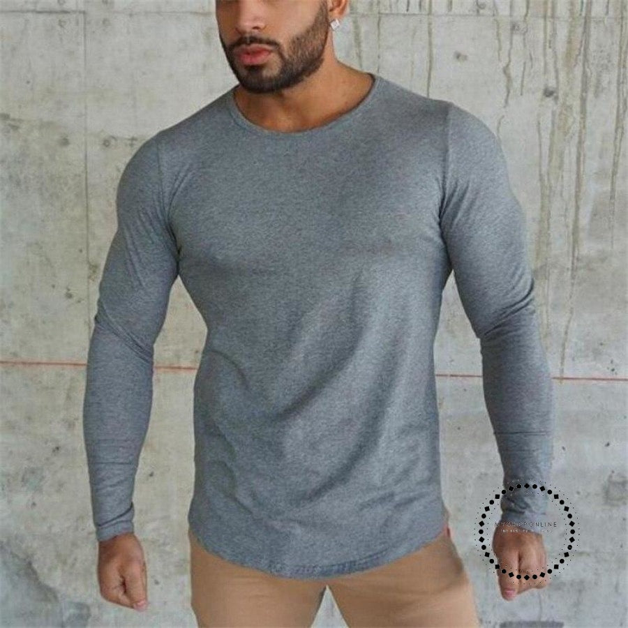 Mens T Shirt Spring Autumn Slim Longsleeve Fitted T-Shirts Male Tops Leisure Bodybuilding Long