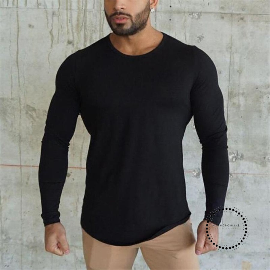 ... Mens T Shirt Spring Autumn Slim Longsleeve Fitted T-Shirts Male Tops  Leisure Bodybuilding Long ... 1961ca822af