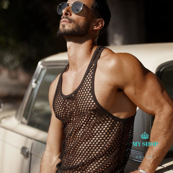 Mens Tank Top Undershirt Lace Transparent 1 / M Hombres