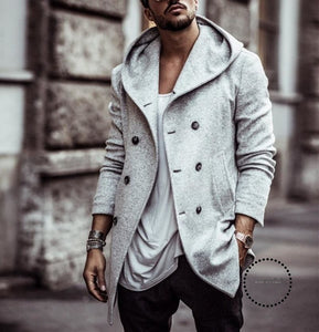 Mens Trench Coat Long Wool Overcoat Double-Breasted Autumn Hooded Men Windbreaker Casual Jacket