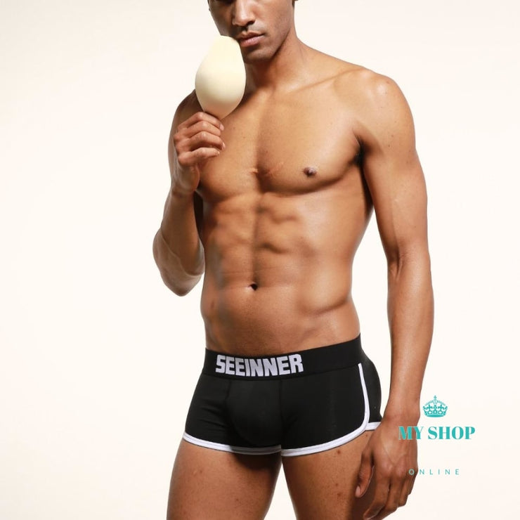 Mens Underwear Boxers Trunks With Sexy Gay Penis Pouch Bulge Enhancing Front + Back Double Removable