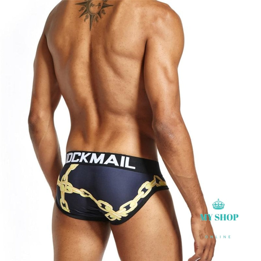 Mens Underwear Briefs Chains Printed Male Panties Accesorios