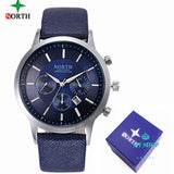 Mens Watches North Brand Luxury Casual Military Quartz Sports Wristwatch Leather Strap Blue