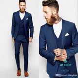 Navy Blue Business Mens Suits 3 Pieces (Jacket+Pants+Vest) Wedding Groomsmen Best Man Formal Suit