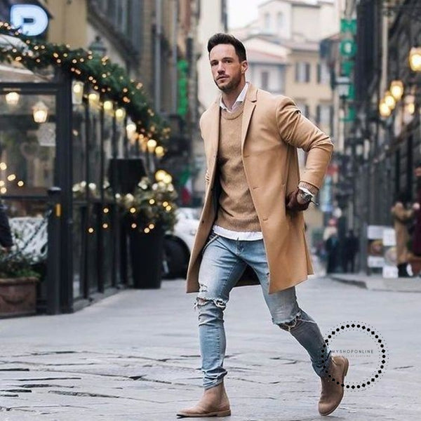 New Fashion Elegant Men Plus Size Solid Color Lapel Collar Long Sleeve Loose Overcoat Jacket Trench