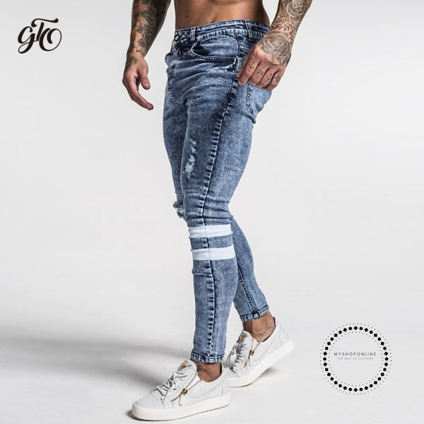 New Men Skinny Jeans Slim Fit Stretchy Blue Big Size Cotton Lightweight Comfy Hip Hop White Tape