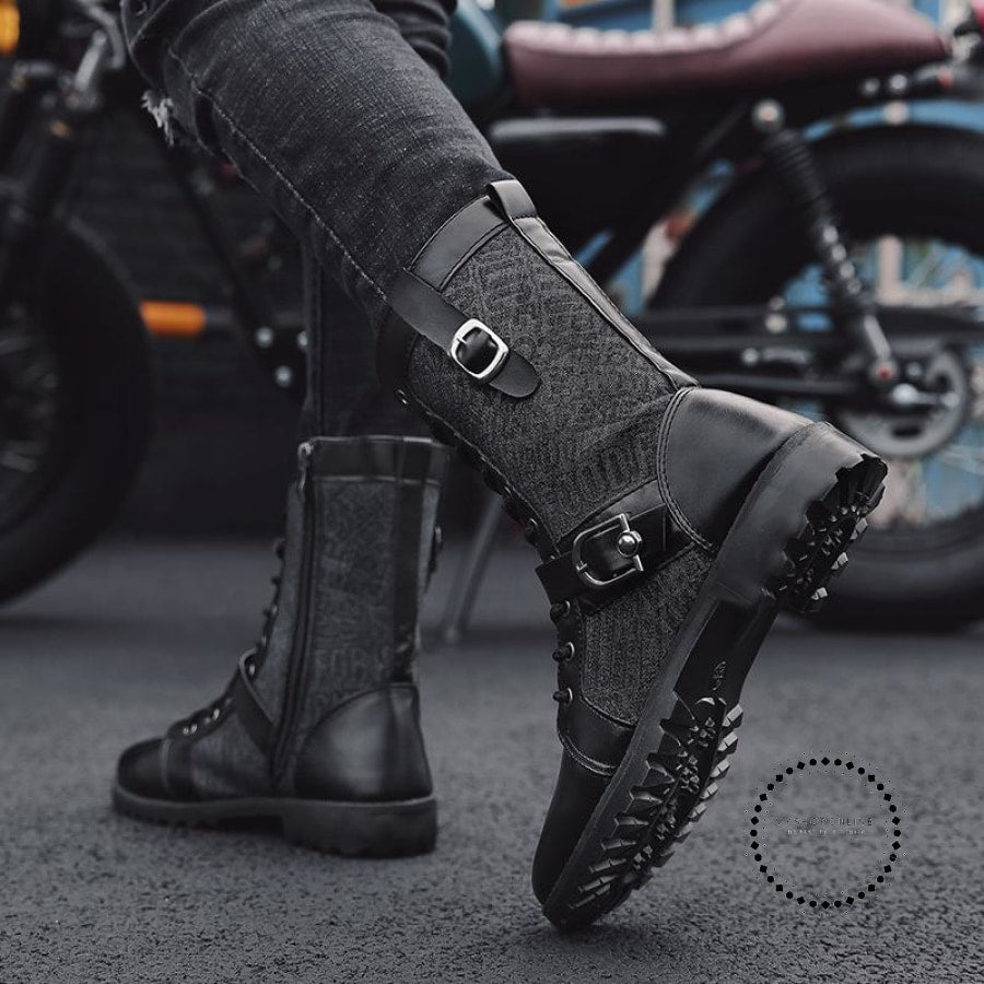 424b56d4ba6 New Style Autumn Winter Punk Martin Boots Men Fashion PU Leather Motorcycle  Boots Black Vintage High Top Buckle Boots Men Shoes