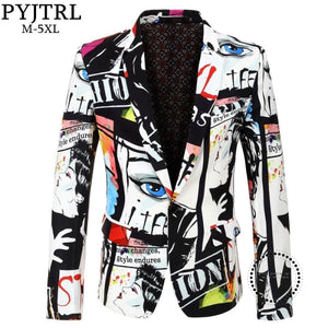 New Tide Mens Fashion Print Blazer Design Plus Size Hip Hot Casual Male Slim Fit Suit Jacket Singer