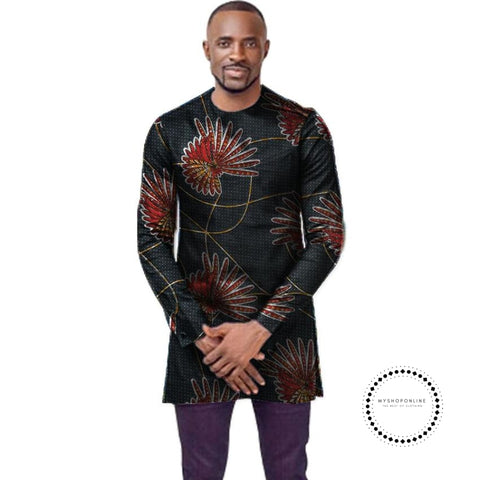 O-Neck African T-Shirt Men Fashion Print Dashiki Tops Custom Long Sleeve Clothes Tailored Africa