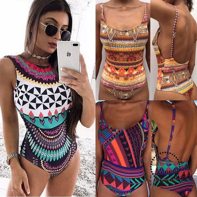 One Piece Swimsuit Plus Size Swimwear Women Padded Large Sizes Backless Print Bodysuits High Quality