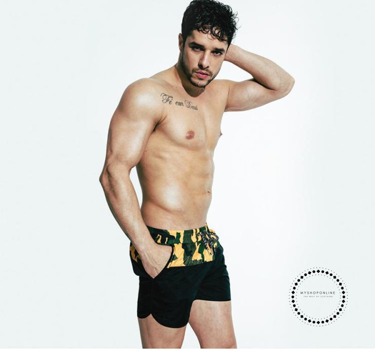 Padded Push Up Swimwear Men Camouflage Black Short / M Accesorios