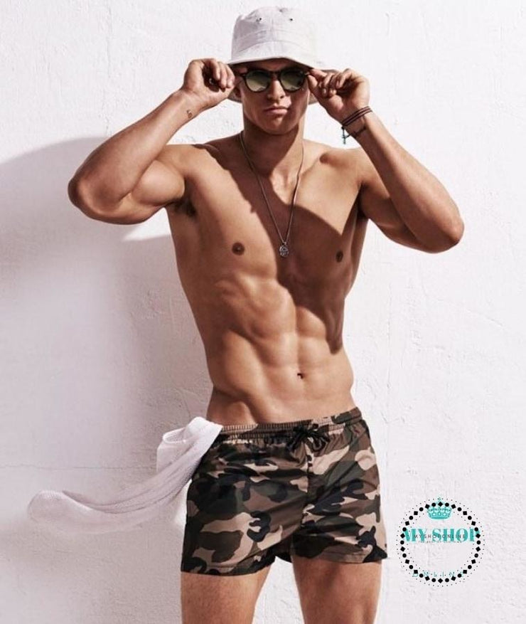 Padded Push Up Swimwear Men Camouflage Green Short / M Accesorios