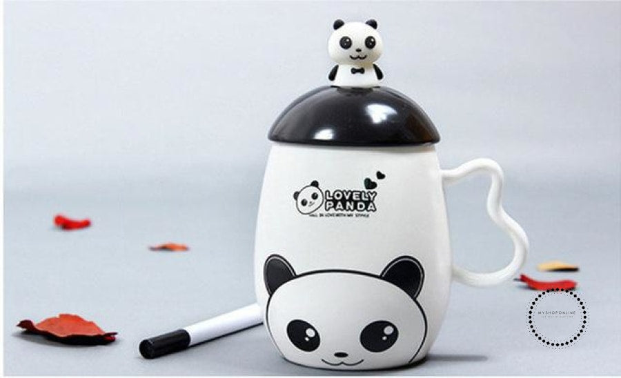 Panda Ceramic Mug Nice Animal Cup With Spoon And Pen Leave A Message Mugs 01 / 350Ml