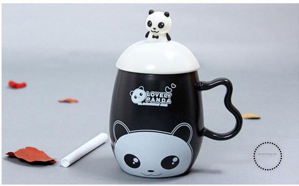 Panda Ceramic Mug Nice Animal Cup With Spoon And Pen Leave A Message Mugs 02 / 350Ml