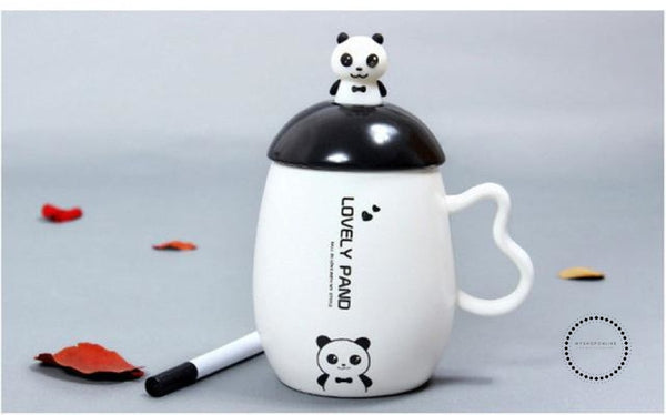 Panda Ceramic Mug Nice Animal Cup With Spoon And Pen Leave A Message Mugs 03 / 350Ml