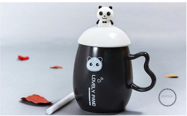 Panda Ceramic Mug Nice Animal Cup With Spoon And Pen Leave A Message Mugs 04 / 350Ml