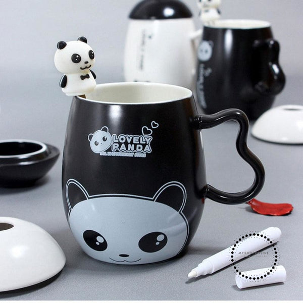Panda Ceramic Mug Nice Animal Cup With Spoon And Pen Leave A Message Mugs