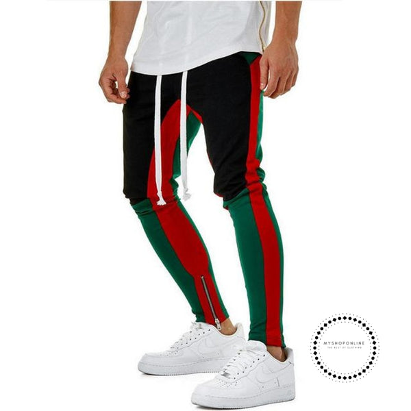 Pants Waist Banding Panelled Side Stripe Zip Pockets Color Contrast Retro Trousers Joggers Green / M