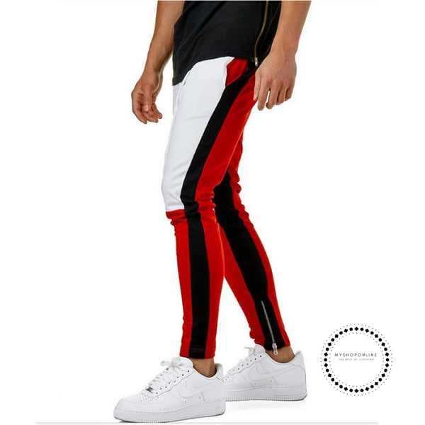 Pants Waist Banding Panelled Side Stripe Zip Pockets Color Contrast Retro Trousers Joggers