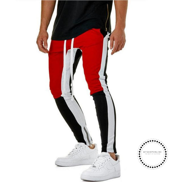 Pants Waist Banding Panelled Side Stripe Zip Pockets Color Contrast Retro Trousers Joggers Red Black
