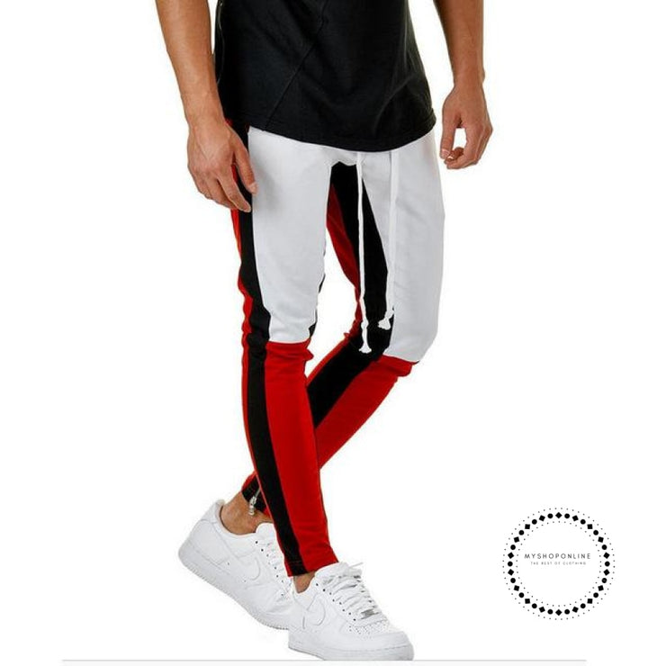 Pants Waist Banding Panelled Side Stripe Zip Pockets Color Contrast Retro Trousers Joggers White Red